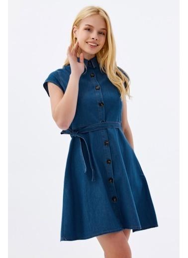 Pattaya Pattaya Kadın Kuşaklı Kısa Kollu Mini Kot Elbise PTTY20S-9677 Mavi